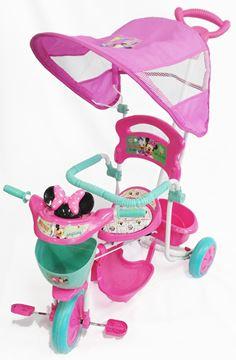 Imagen de Triciclo con guía y toldo Minnie Disney