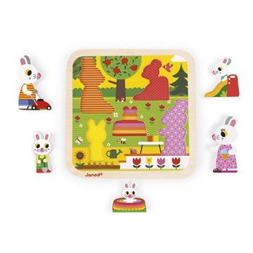 Imagen de Juego de encastre Conejos en el Jardín Janod